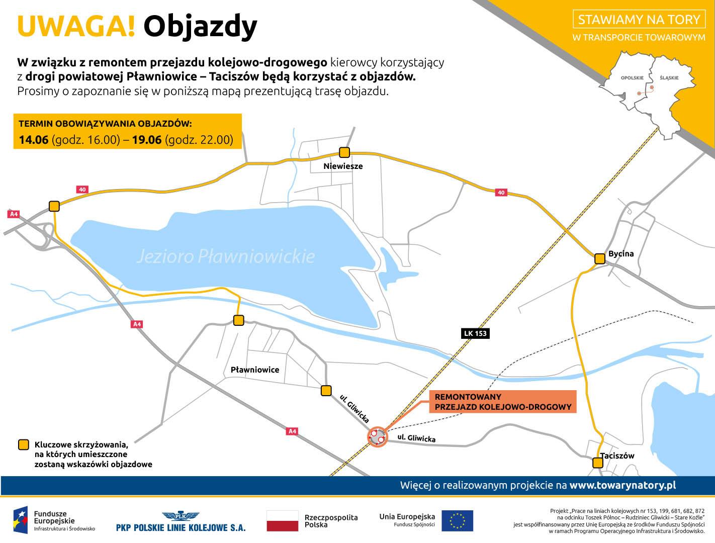 Infografika mówi o objazdach Pławniowic w czerwcu dwa tysiące dziewiętnastego roku. Objazd będzie kierowany przez: Taciszów, Bycina, Niewiesze.