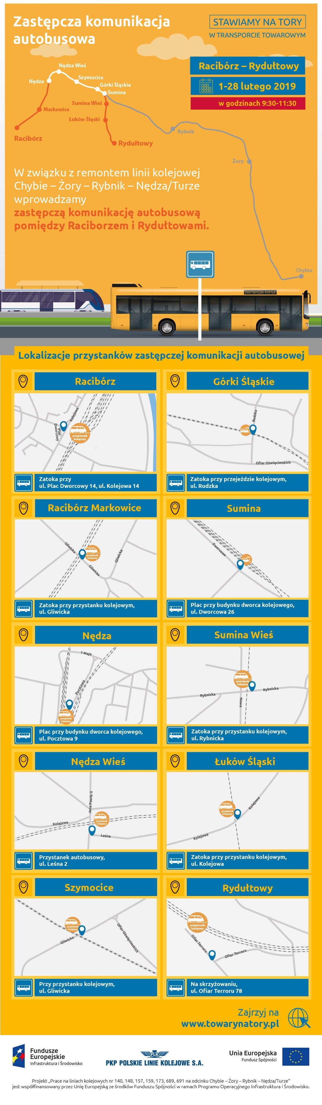 Infografika mówi o zastępczej komunikacji autobusowej w lutym dwa tysiące dziewiętnastego roku. Dotyczy ona miejscowości: Racibórz, Górki Ślaskie, Racibórz Markowice, Sumina, Nędza, Sumina Wieś, Nędza Wieś, Łuków Śląski, Szymocice i Rydułtowy.