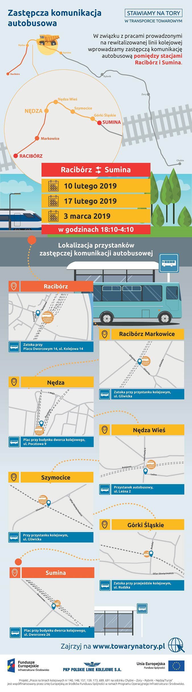Infografika mówi o zastępczej komunikacji autobusowej w lutym i marcu dwa tysiące dziewiętnastego roku. Dotyczy ona miejscowości: Racibórz, Racibórz Markowice, Nędza, Nowa Wieś, Szymocice, Górki Śląskie i Sumina.