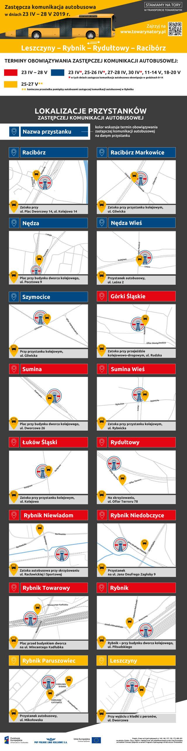 Komunikacja zastępcza - lokalizacje przystanków