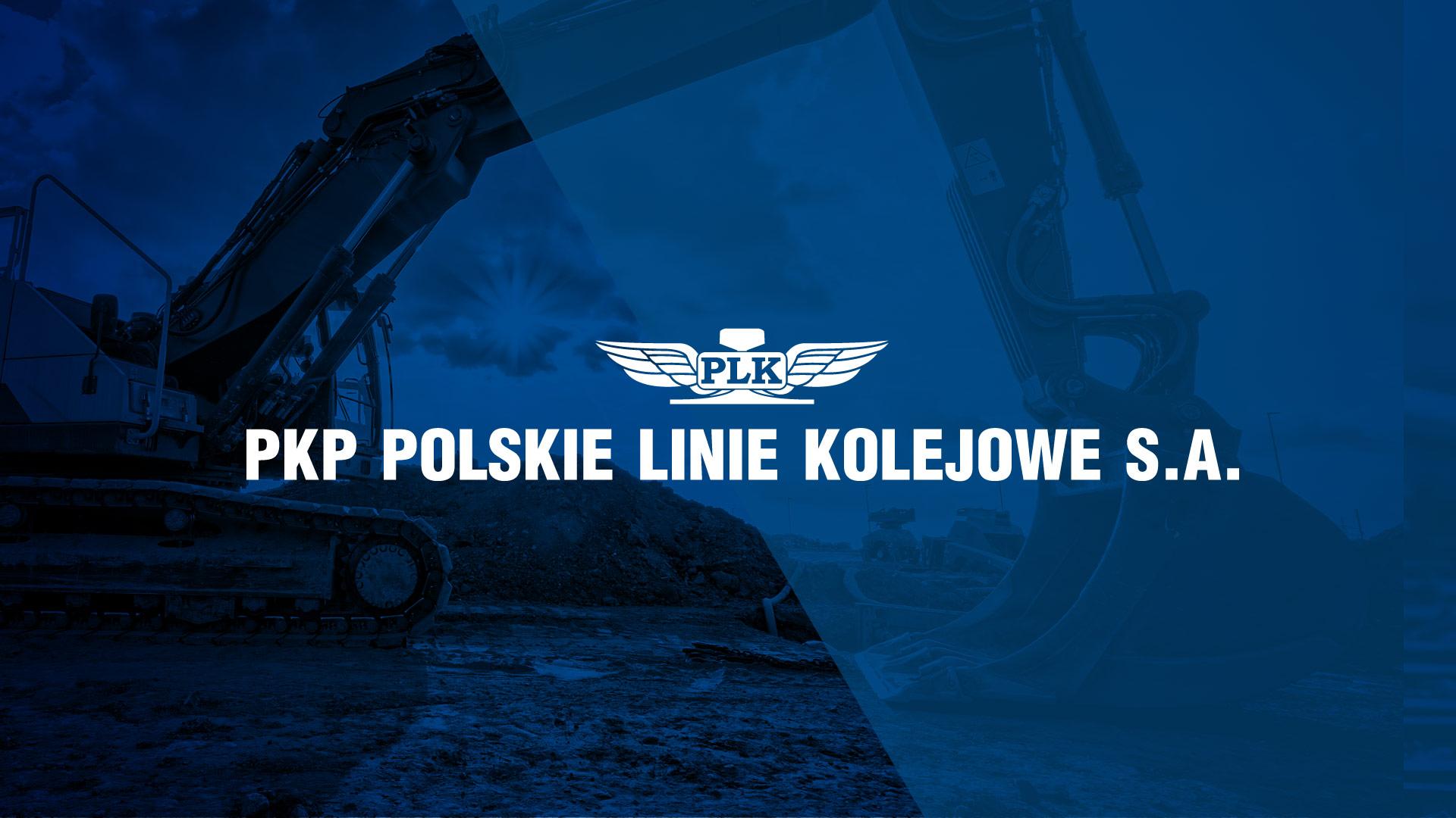 Obrazek: Logotyp PKP PLK na granatowym tle.