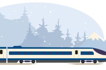 Obrazek pociąg a w tle zimowy krajobraz