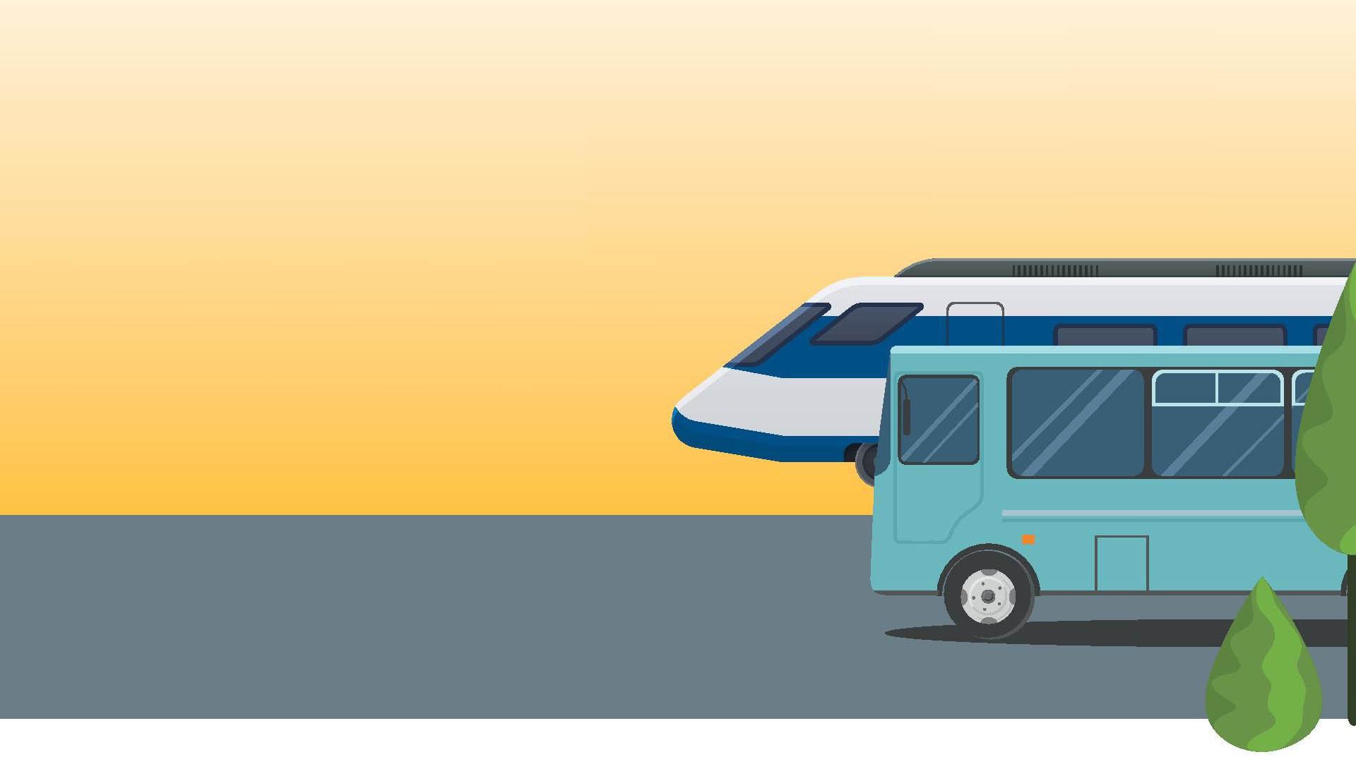 Obrazek: pociąg i autobus