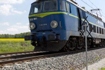 Obrazek: niebieski pociąg w dużym zbliżeniu, w tle letnia łąka.