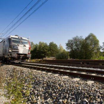 Zdjęcie: biały pociąg porusza się po torowisku.