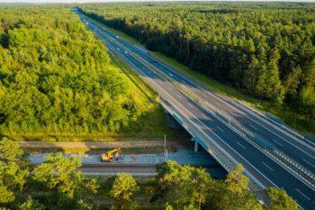 Zdjęcie: wiadukt w lesie z lotu ptaka.