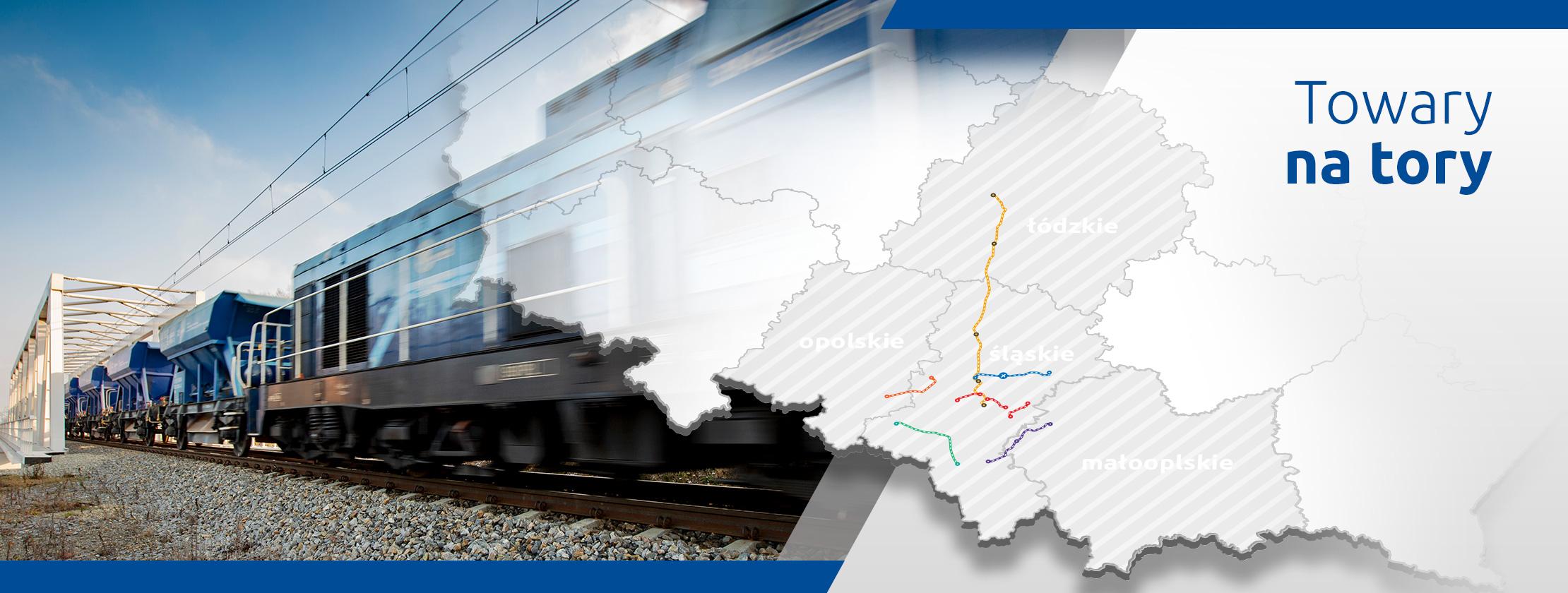 Slider główny Towary na tory - Grafika przedstawiająca most kolejowy z przejeżdżającym pociągiem towarowym i mapę województw opolskiego, śląskiego, małopolskiego i łódzkiego z liniami kolejowymi modernizowanymi w ramach projektów PKP Polskich Linii Kolejowych S.A. - prowadzi do zakładki inwestycje.