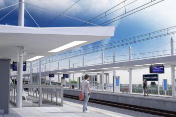 Grafika przedstawia przyszły przystanek Pyrzowice Lotnisko