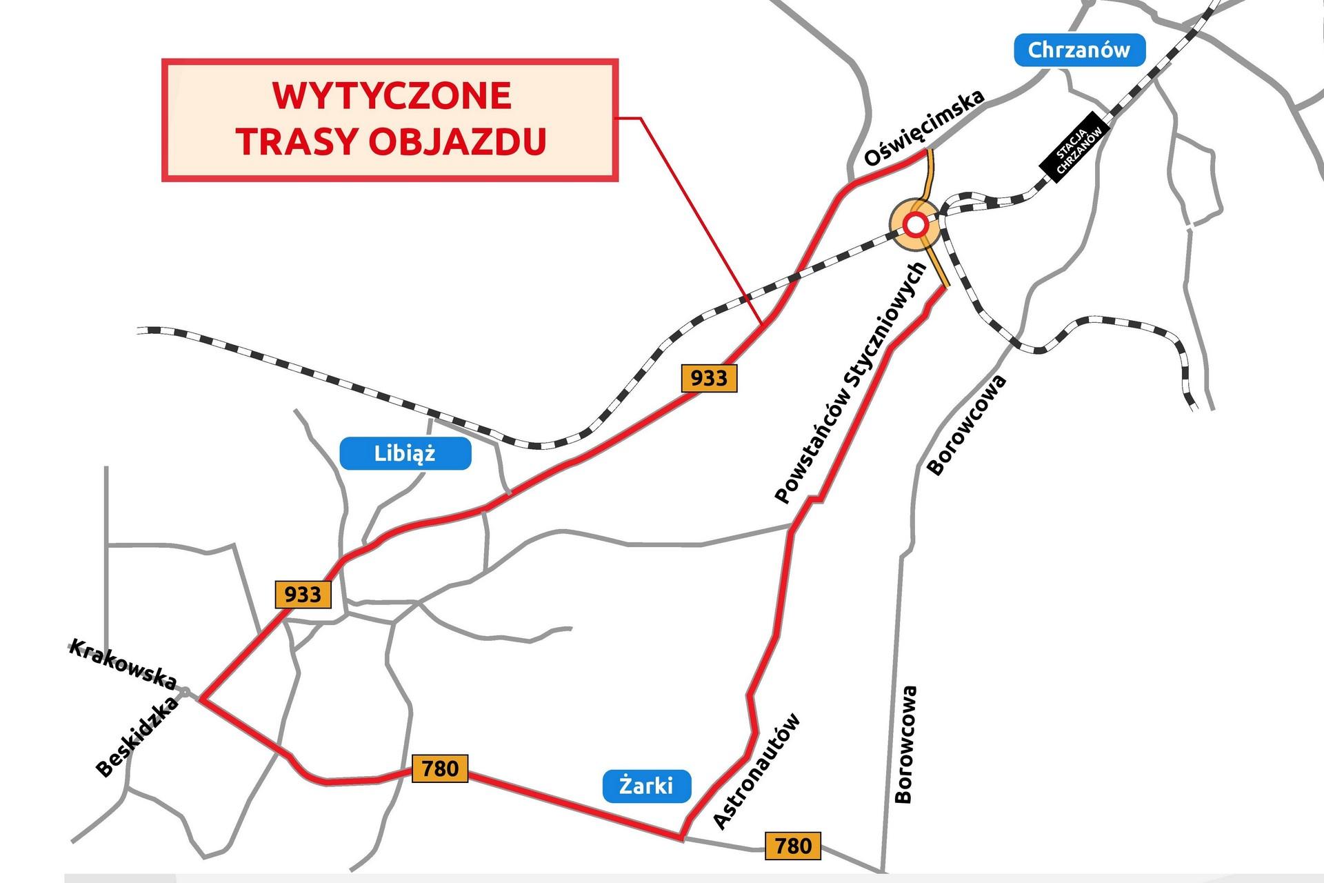 Zdjęcie pokazuje wytyczoną linie trasy objazdu
